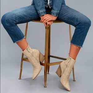 Fallyn Natural Suede Pointed Mid-Calf Boots - 11